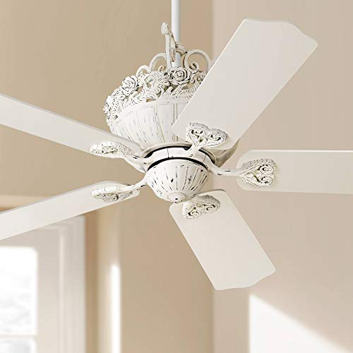 52 Casa Chic Ceiling Fan Antique Floral Scroll Rubbed White for Living Room Kitchen Bedroom Family Dining – Casa Vieja