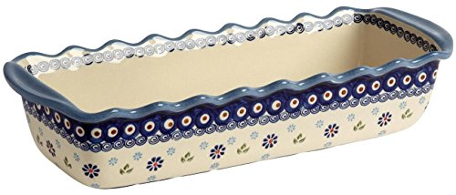"""Fluted Loaf - Polish Pottery Peacock Feathers Blue Floral Large Fluted Loaf Pan 15.5""""L x 6""""W x 3.25""""H (64-oz. capacity)"""