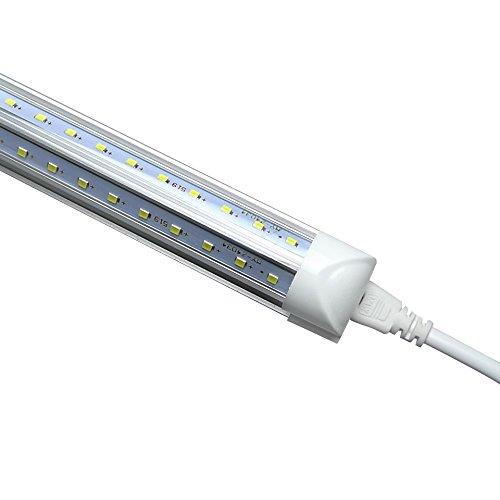 V Shape Integrated LED Tube Light, 8FT 72W (150W Fluorescent Equivalent), Works Without T8 Ballast, Plug and Play, Clear Lens Cover, Cold White 6000K Pack of 4 by Jomitop (Image #7)