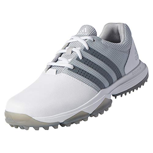 (adidas Men's 360 Traxion Golf Shoe, WHITE/SILVER METALLIC, 9 M US)