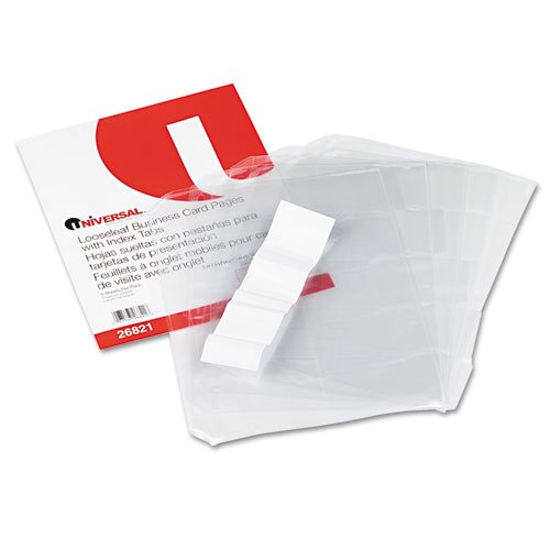 Universal 26821 Looseleaf Binder Business Card Pages with Index Tabs (100 Card per Pack) (Discontinued by Manufacturer)