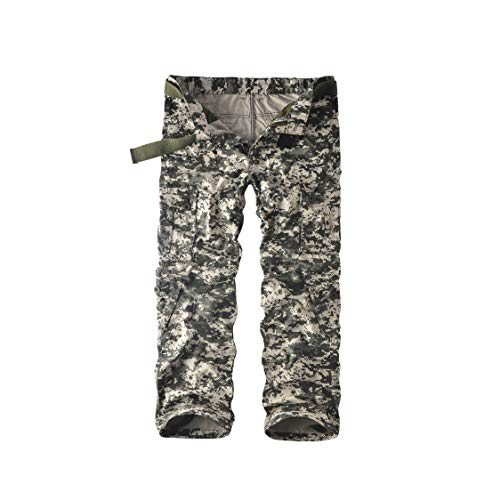 Leward Men's Cotton Casual Military Army Cargo Camo Combat Work Pants with 8 Pocket (32, Digital)
