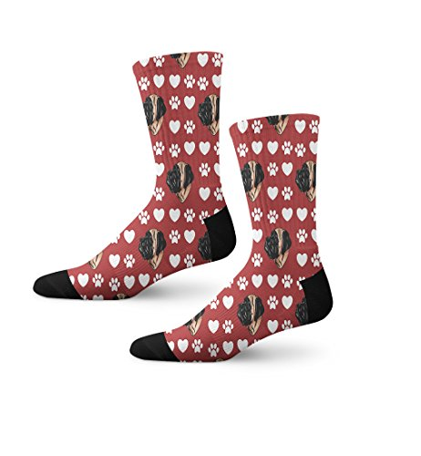 Mastiff Socks (English Mastiff Dog Red Paw Heart Novelty Cuff Crew Men Women Socks Large)