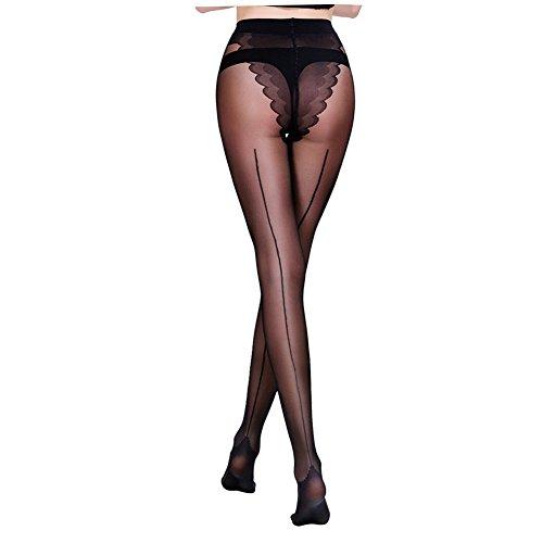 FANCAME Women's Control Top Panty Hose with Bikini Crotch Semi Sheer Pantyhose (S, (Back Seam Spandex)