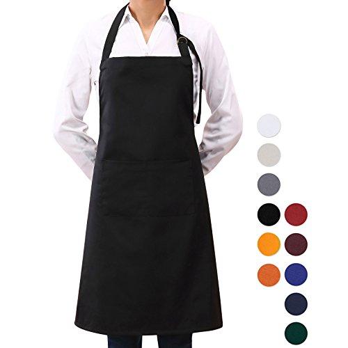 VEEYOO Adjustable Chef Bib Apron with 2 Pockets, Durable Spun Poly Cotton, Cooking Kitchen Restaurant Uniform Aprons for Men Women, 32x28 inches, Black