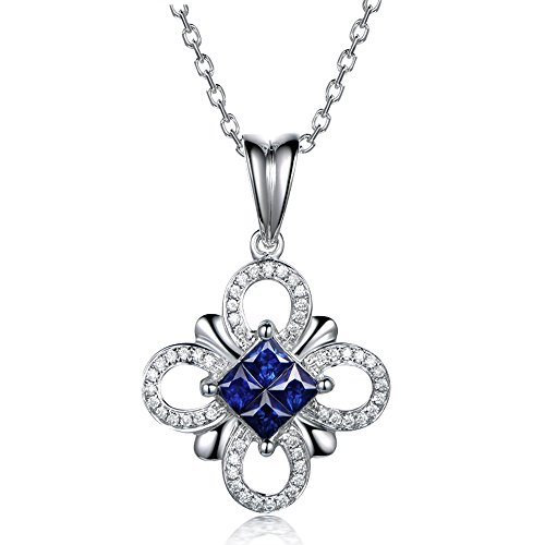 Kardy Design Women's Solid 14K White Gold Natural Diamond Sapphire Gemstone Engagement Lucky Pendant Sets by Kardy
