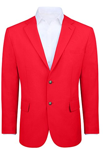 Men's Modern Fit 2 Button Sport Coat Blazer Jacket - Red, 40 Regular