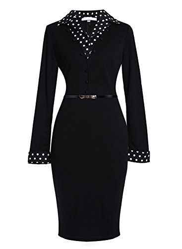 Meikeerr Women's Black Workwear Long Sleeve Business Suit Party Pencil Office Dress price tips cheap