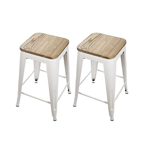 GIA 24-Inch Backless Counter Height Stool with Wooden Seat, White/Light Wood, 2-Pack