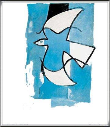 ポスター ジョルジュ ブラック Le Oiseaux Bleu et Gris 額装品 アルミ製ハイグレードフレーム(シルバー) B0719C4F9Tシルバー