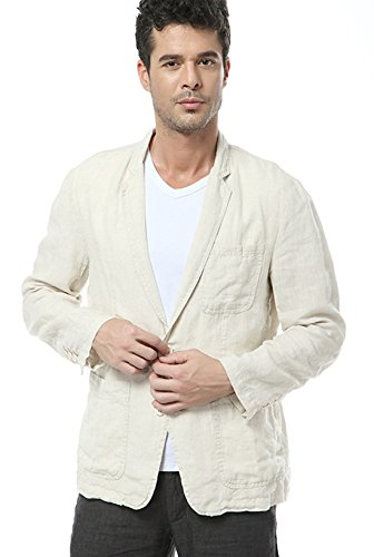 utcoco Men's Casual Lapel Lightweight Two-Button Linen Suit Blazer (Medium, Beige)