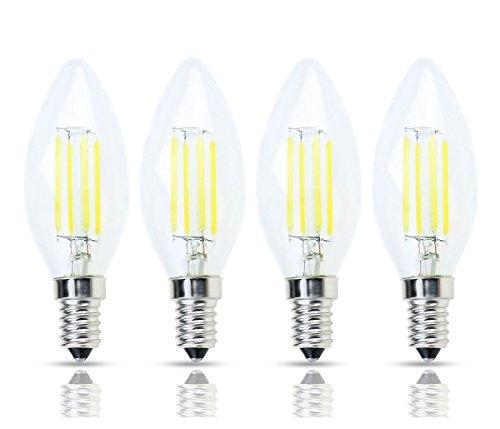 Lamsky E14 European Base LED Filament C35 Bullet Top Vintage Edison Bulb,4W Daylight 6000K, No-Dimmable,4-Pack
