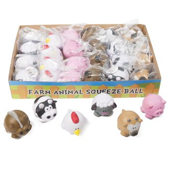 FARM ANIMAL SQUEEZE BALL 6ASST 24PC PDQ OPP BAG W/LABEL, Case Pack of 24