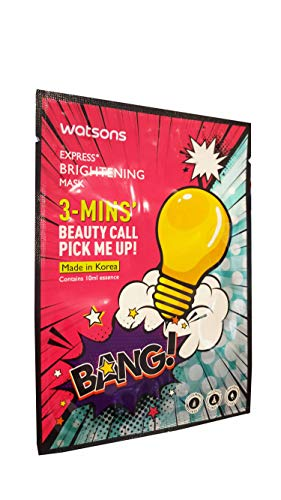 4 Mask Sheets of Watsons Express, Brightening Mask. 3 - Mins' Beauty Call Pick Me Up!. Colourant free, Alcohol free, Paraben free. (10 ml. essence/sheet)