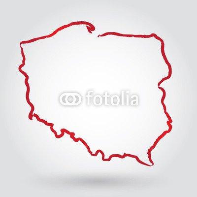 Mapa Konturowa Polski Polish 77550611 Poster 100 X 100cm