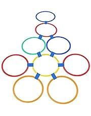 Kinderen Agility Training Cirkel 10 Ring Set, Agile Voet Training En Snelheid Obstakel Cirkel, sport Oefening Thuis Speeltuin (L,Color 10 Rings)