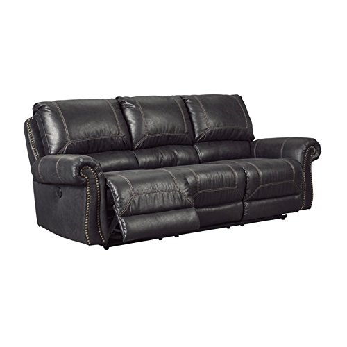 Ashley Furniture Signature Design - Milhaven Faux Leather Upholstered Reclining Power Sofa - Contemporary - Black - Nailhead Trim Leather Sofa