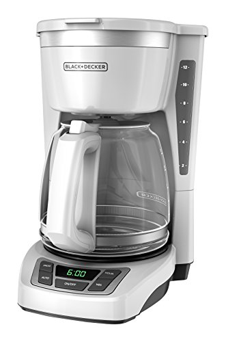 BLACK+DECKER 12-Cup Programmable Coffeemaker, White, CM1160W