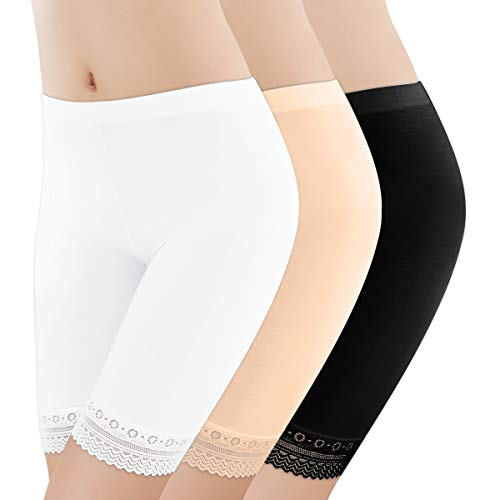 DoerDo 3 Pieces Lace Shorts Lace Leggings Undershorts Boyshort Safety Yoga Pants Stretch Underwear for Women Girls (Black&White&Skin, M)
