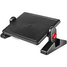 "Halter F6033 Premium Ergonomic Foot Rest - 16.3"" X 11.8"" - Adjustable Angle & 2 Different Height Positions - Black"