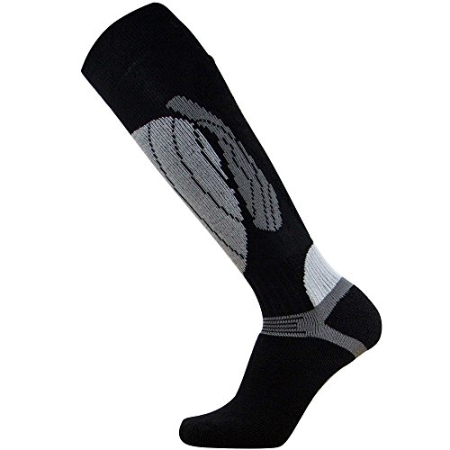 Elite Wool Race Ski Socks - Warm Comfortable Ski Socks, Snowboard Socks - Merino Wool Ski Socks - PureAthlete (Black/Silver, (Blend Skis)