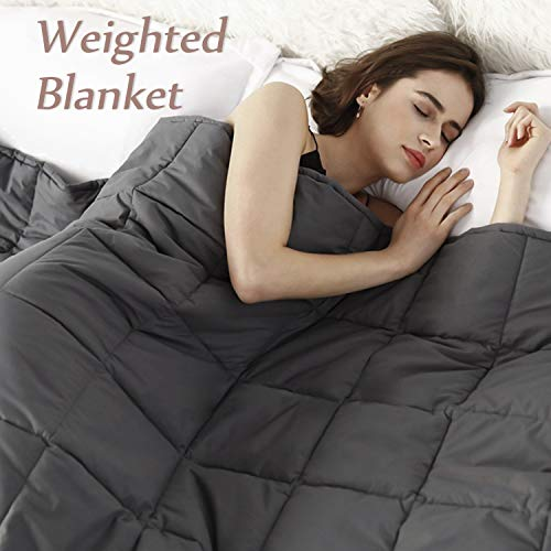 Cheap BEEYEO Weighted Blanket 15 lbs Adults Weighted Blankets Queen Size Cool Heavy Blanket with 100% Cotton and Washable Glass Beads 60 x80 15 lbs Dark Grey Black Friday & Cyber Monday 2019