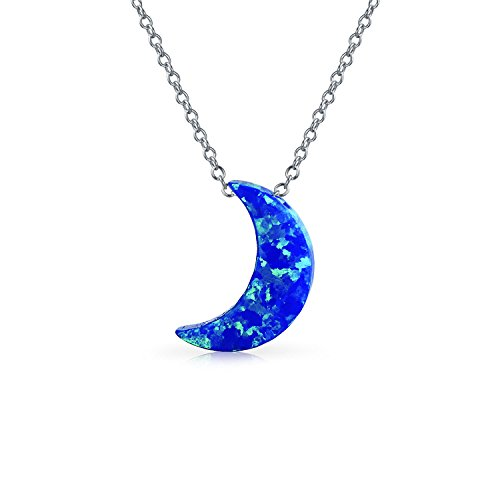 Synthetic Blue Opal .925 Silver Crescent Moon Pendant - Moon Opal Necklace
