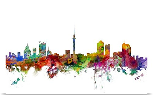 Auckland New Zealand Skyline Poster Print