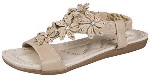 Lora Dora Womens Diamante Flower Sandals Flower Studs - Nude