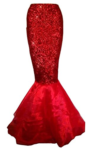 Mermaid Fancy Dress Costumes (Womens Sexy Mermaid Halloween Costume Fancy Party Sequins Maxi Dress Tail Skirt (US 4, Red))