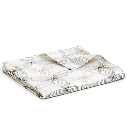 YnM Bamboo Duvet Cover for Weighted Blankets (48''x72'') - Khaki Flower Print
