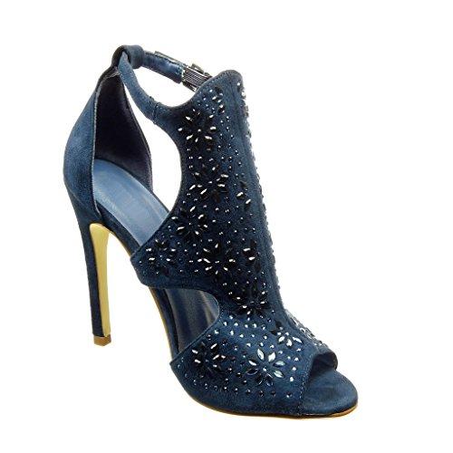 Angkorly - Chaussure Mode Escarpin stiletto ouverte femme fleurs strass diamant Talon haut aiguille 11 CM - Bleu