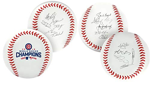 (Chicago Cubs 2016 MLB World Series Autograph Roster Champions Rawlings Baseball)