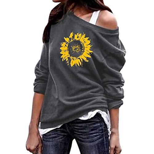 LEKODE Women T-Shirt Fashion Casual Long Sleeve Wild Tee Ladies Autumn Loose Tops(Gray,4XL(4XL))