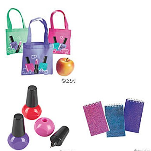 Spa Party Mini Totes Favor Bags, Notepads and Pens for 12 People (Spa Favor Bag)