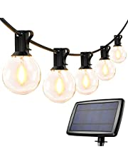 LE solkedjelampor utomhus, 7,62M 25 lysdioder G40 utomhusbelysning, USB uppladdningsbar, 4-läge solkedja för trädgård, bröllop, balkong, hus, juldekoration, varmvit