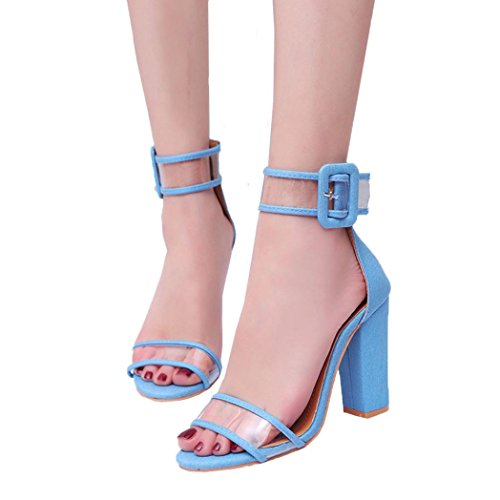 Price comparison product image kaifongfu Womens Sandals, Ladies Block Ankle Platforms Shoes For Women's High Heel Buckle Sandals (428.5