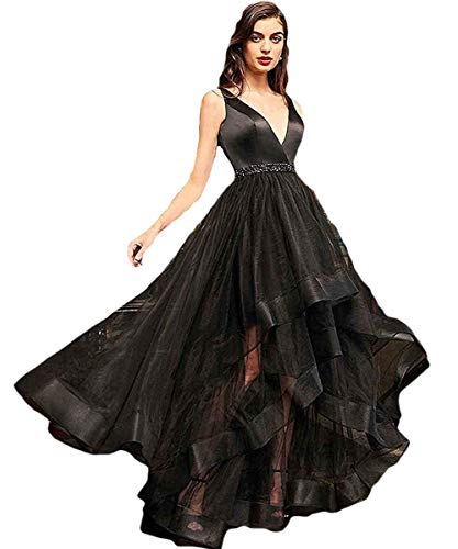 Congyunge Womens High Low Prom Dress V Neck Tulle Beaded Evening