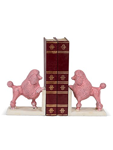 (American Chateau Set of 2 Metal Cast Iron French Poodle Book Ends Pink/White 5