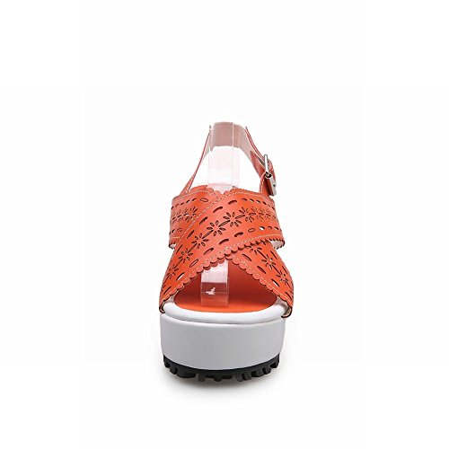 Pierced Sandals Decorative Platforms Colours Candy Orange Cute Toe Carolbar Border Sweet Womens Buckle Open q874F4