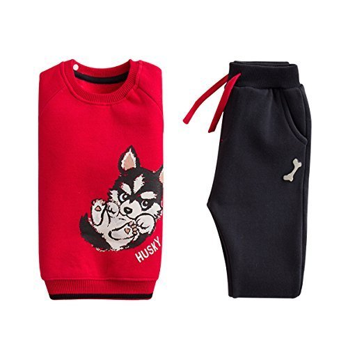 Price comparison product image marc janie Baby Boys Girls Kids' 2 Piece Set Thicken Dog Pattern Sweatshirts and Pants Husky 4T