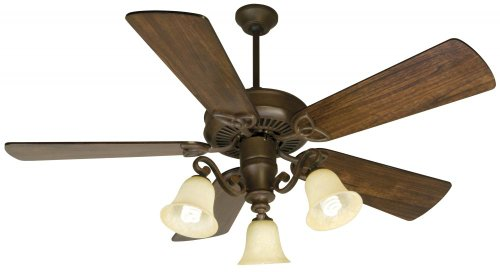 - Craftmade K10674 CXL Ceiling Fan with Premier Distressed Walnut Blades and Antique Scavo Light Kit, 54