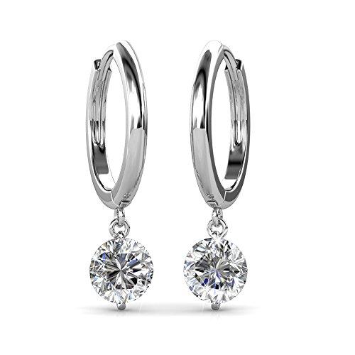 Cate & Chloe Georgia Enduring Gold Hoop Earrings, 18k White Gold Hoop Earrings w/Dangling Round Cut Swarovski Crystals, Silver Dangle Hoop Earrings for Women