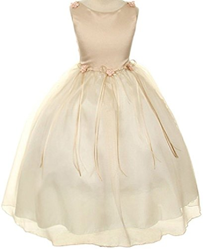 Girl Rose Flower Bud - Rosebud Flower Bow Ribbons Little Girl Flower Girls Dresses (14KD9) Champagne 6
