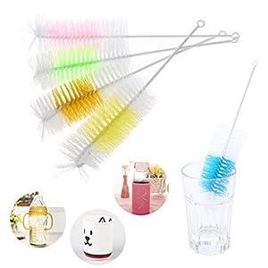 ❤ 2Pcs Baby Nipple Bottle Brush 360 Degree Cleaner 30cm Nylon Cleaning Brushes