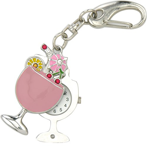JAS Unisex Novelty Belt Fob/keychain Watch Margarita Glass Silver Tone