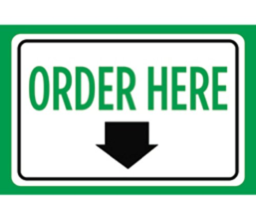 Order Here Print Green White Down Arrow Notice Symbol Store Business Sign - Aluminum Metal