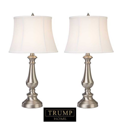 (Dimond Lighting D2366/s2 Trump Home Fairlawn 2-Light Brushed Steel Traditional Table Lamp, 13 by 25-Inch, Nickel Finish, 2-Pack)
