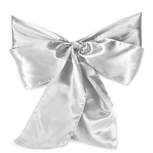 Lann's - 10 Satin Wedding Chair Sashes Bows Ribbons - Silver Mystic Guest Chair