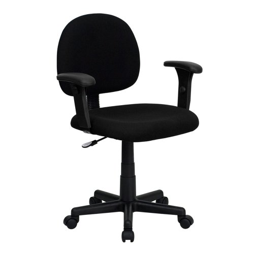 Offex BT-660-1-BK-GG Mid-Back Ergonomic Task Chair with Adjustable Arms, Black Fabric by Offex